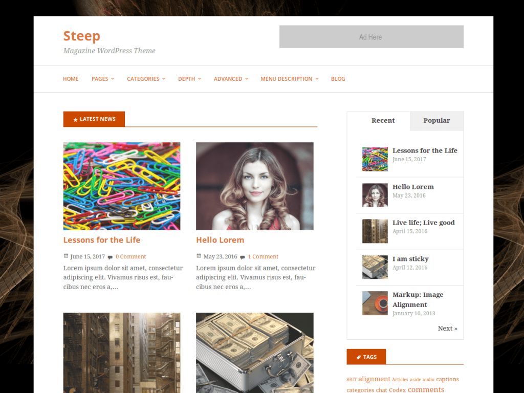 steep free WordPress child theme